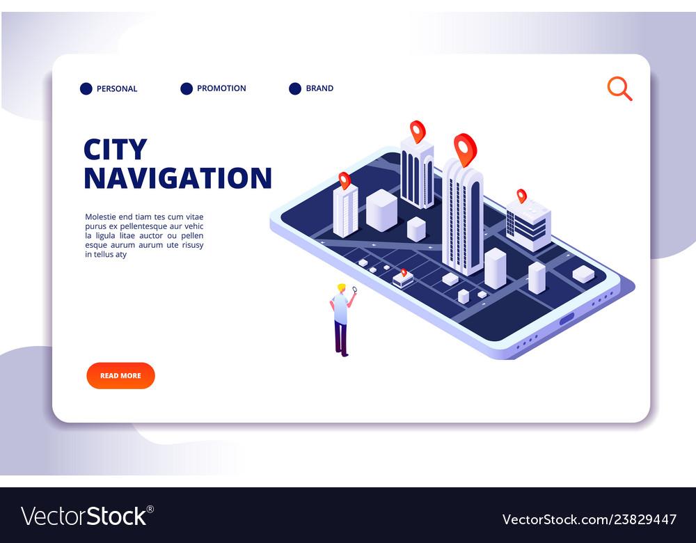 Gps isometric concept navigation city 3d map
