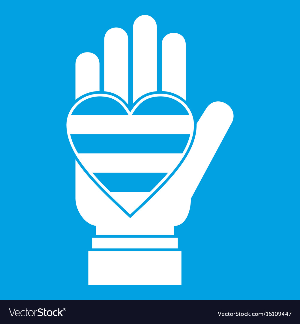Hand holding heart of lgbt icon white vector image