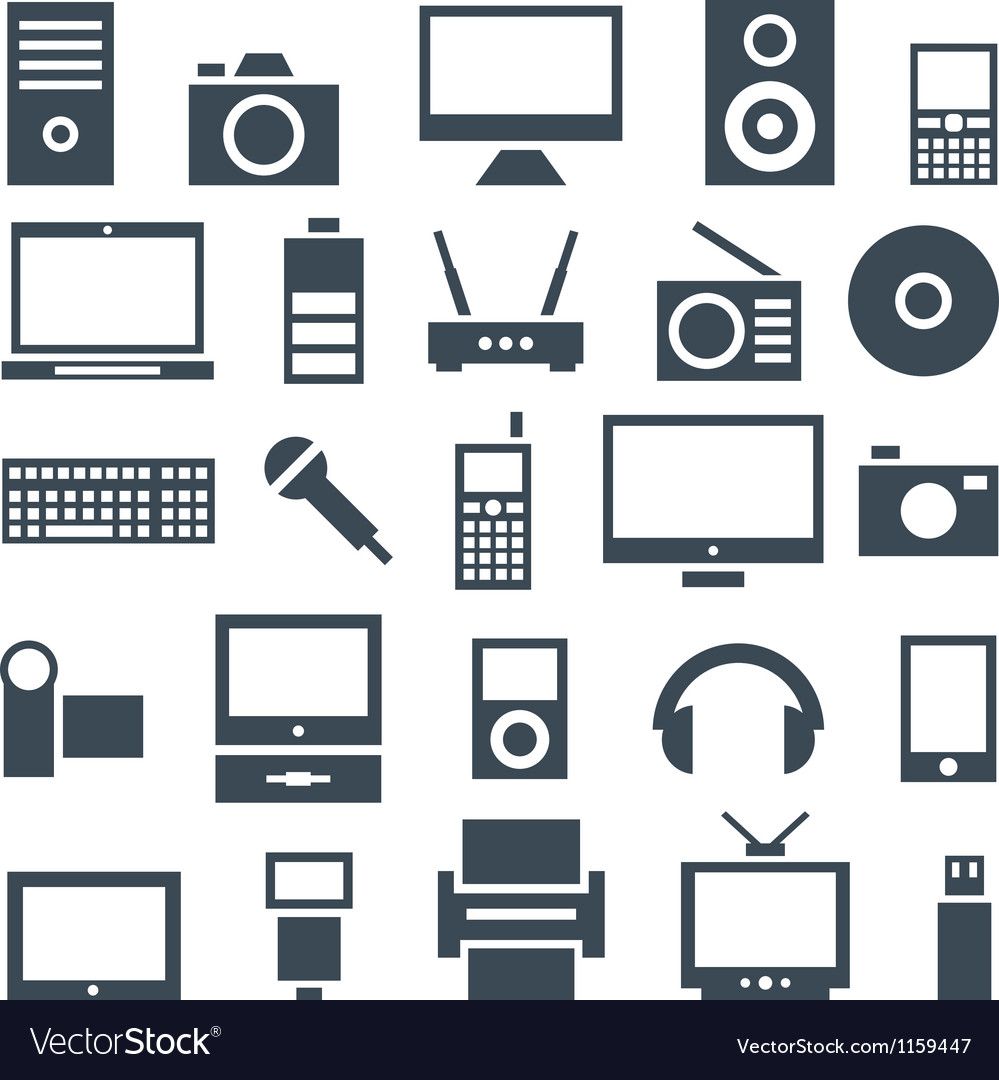 Icon set gadgets computer equipment and
