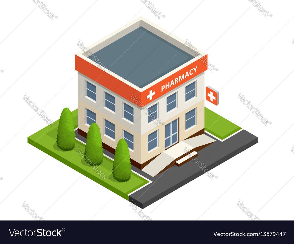 Isometric pharmacy store facade of pharmacy in vector image