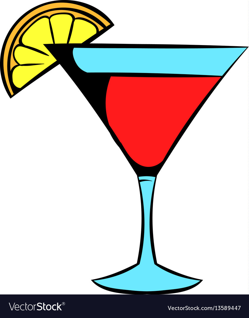 Martini glass with red cocktail icon icon cartoon vector image