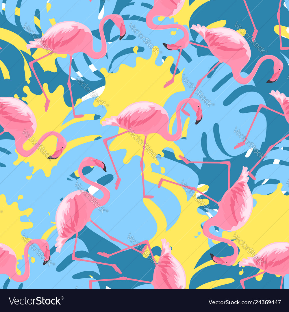 Trendy seamless pattern with tropical pink