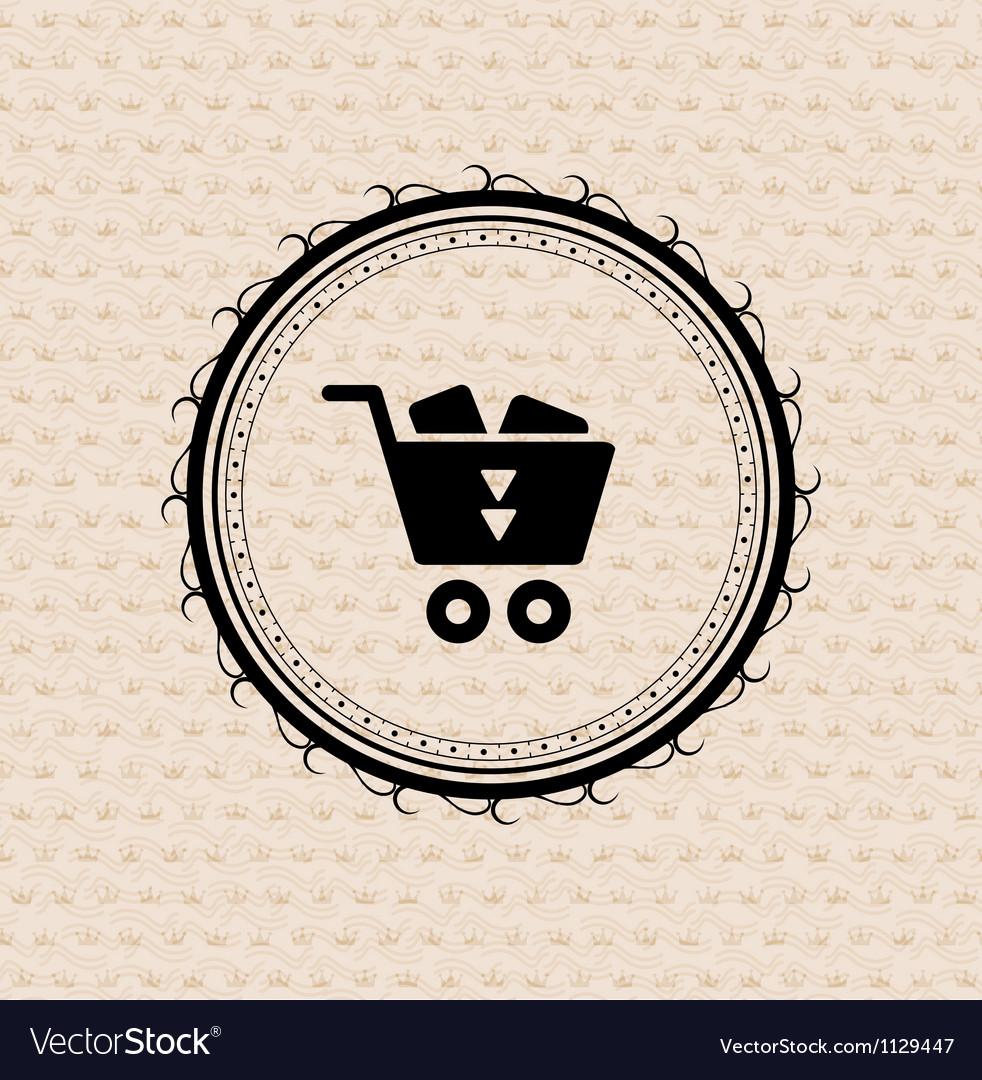 Vintage retro label tag badge shopping cart vector image