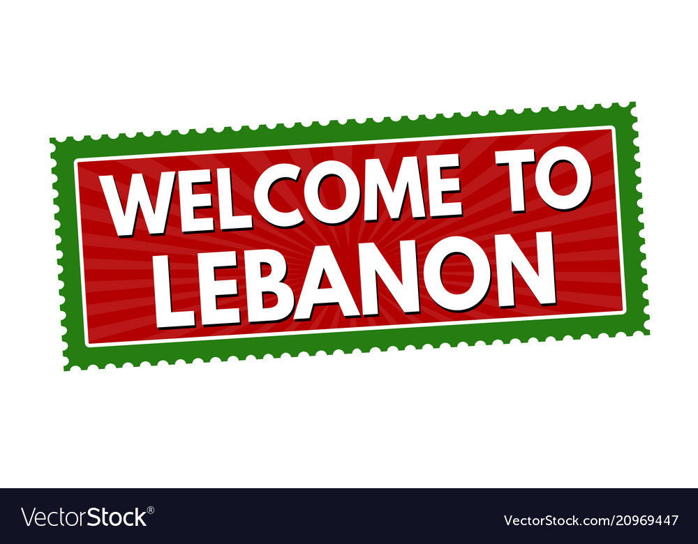 Welcome to lebanon travel sticker or stamp