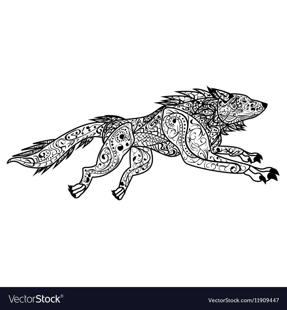 Zentangle Hand drawn doodle ornate dog