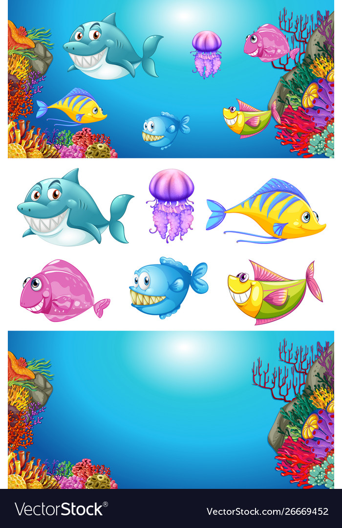 Background design with many sea animals