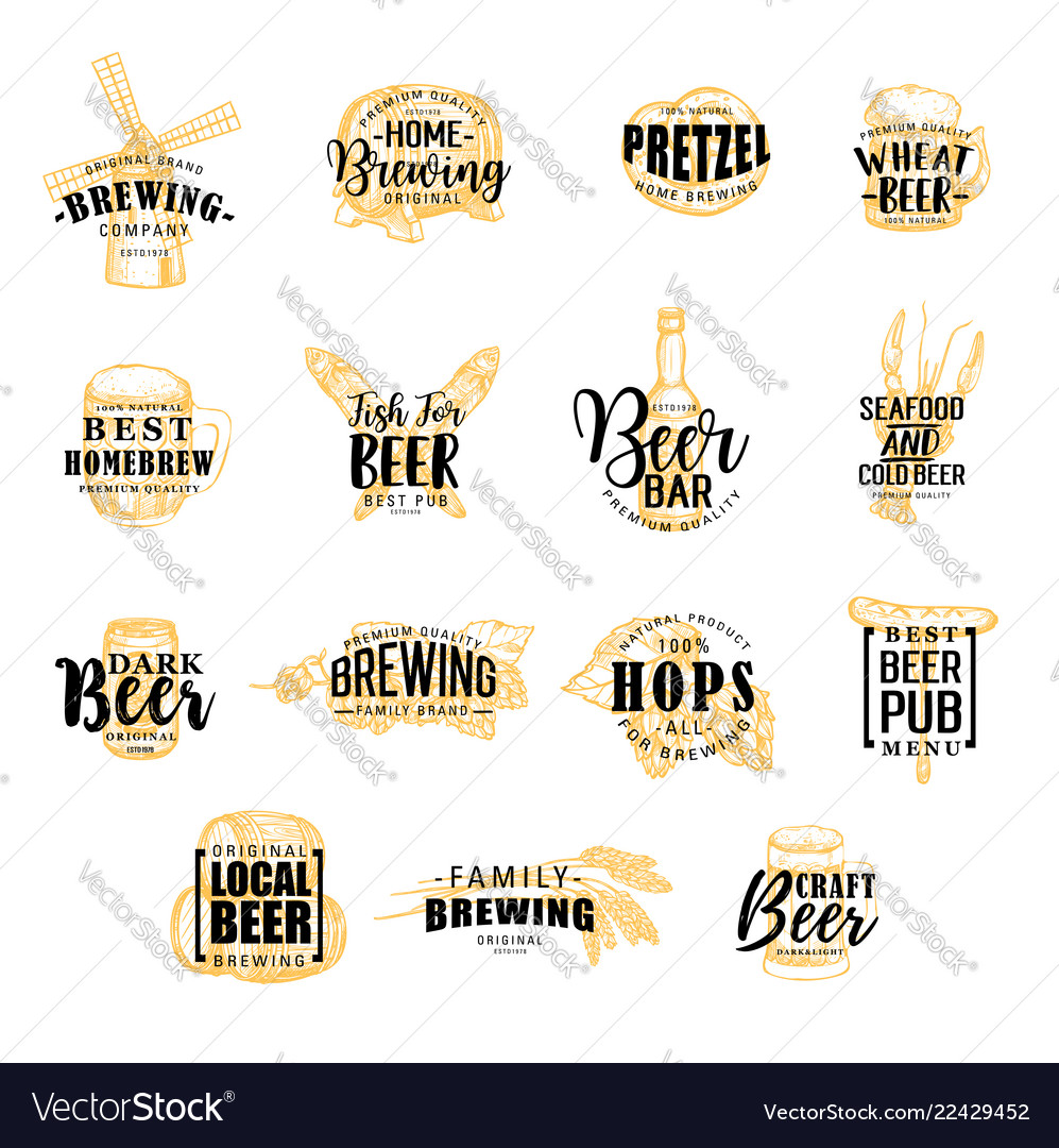 Brewery and beer icons lettering