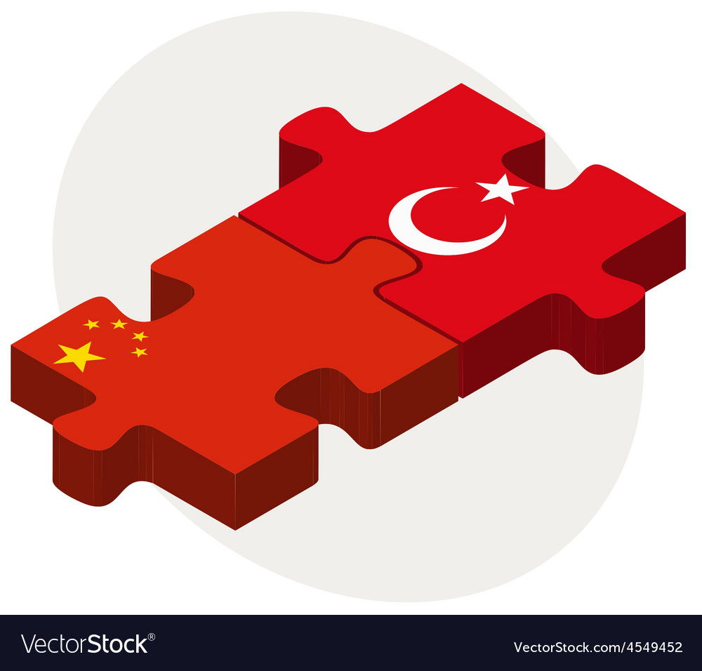 China and turkey flags in puzzle Royalty Free Vector Image