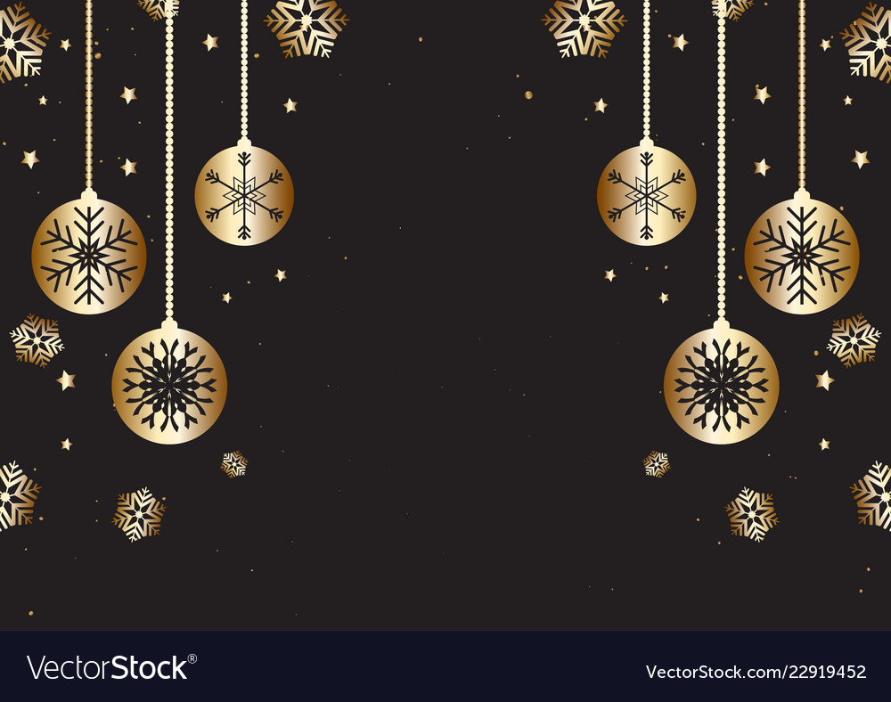 Background Black And Gold Christmas Decorations from cdn3.vectorstock.com