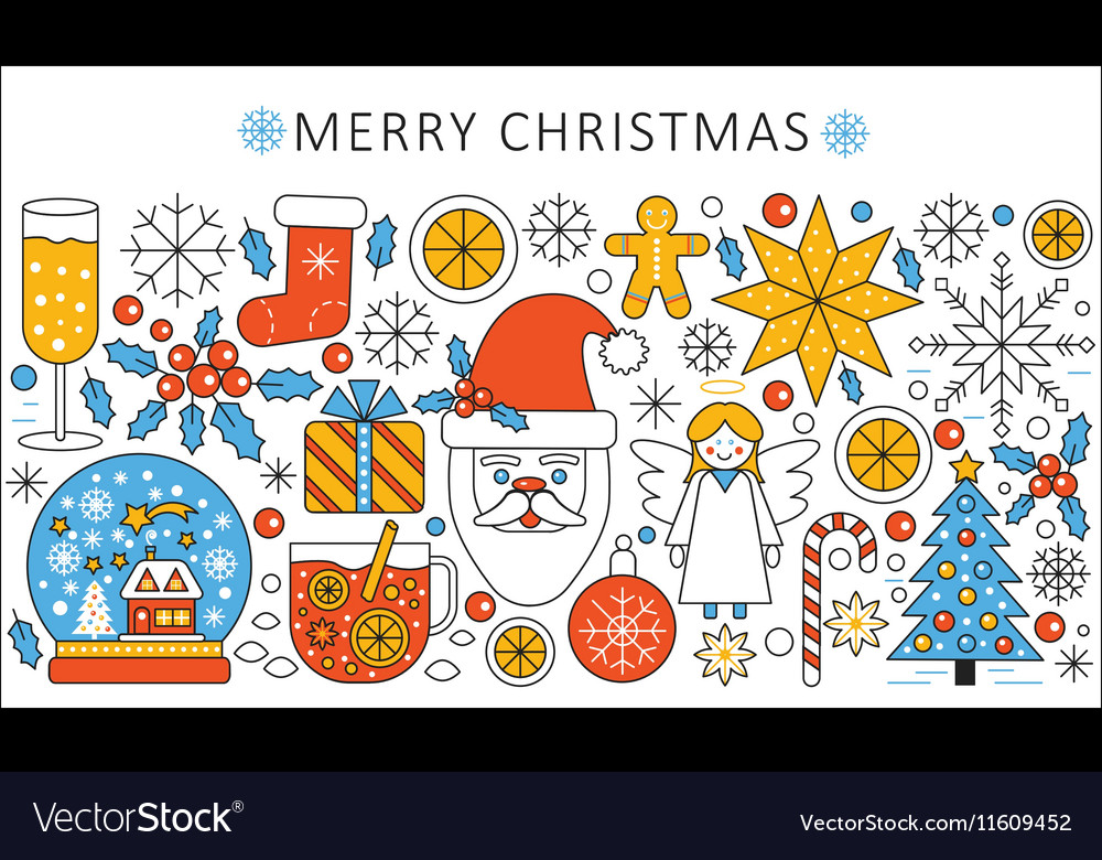 Elegant color flat line Christmas and Happy