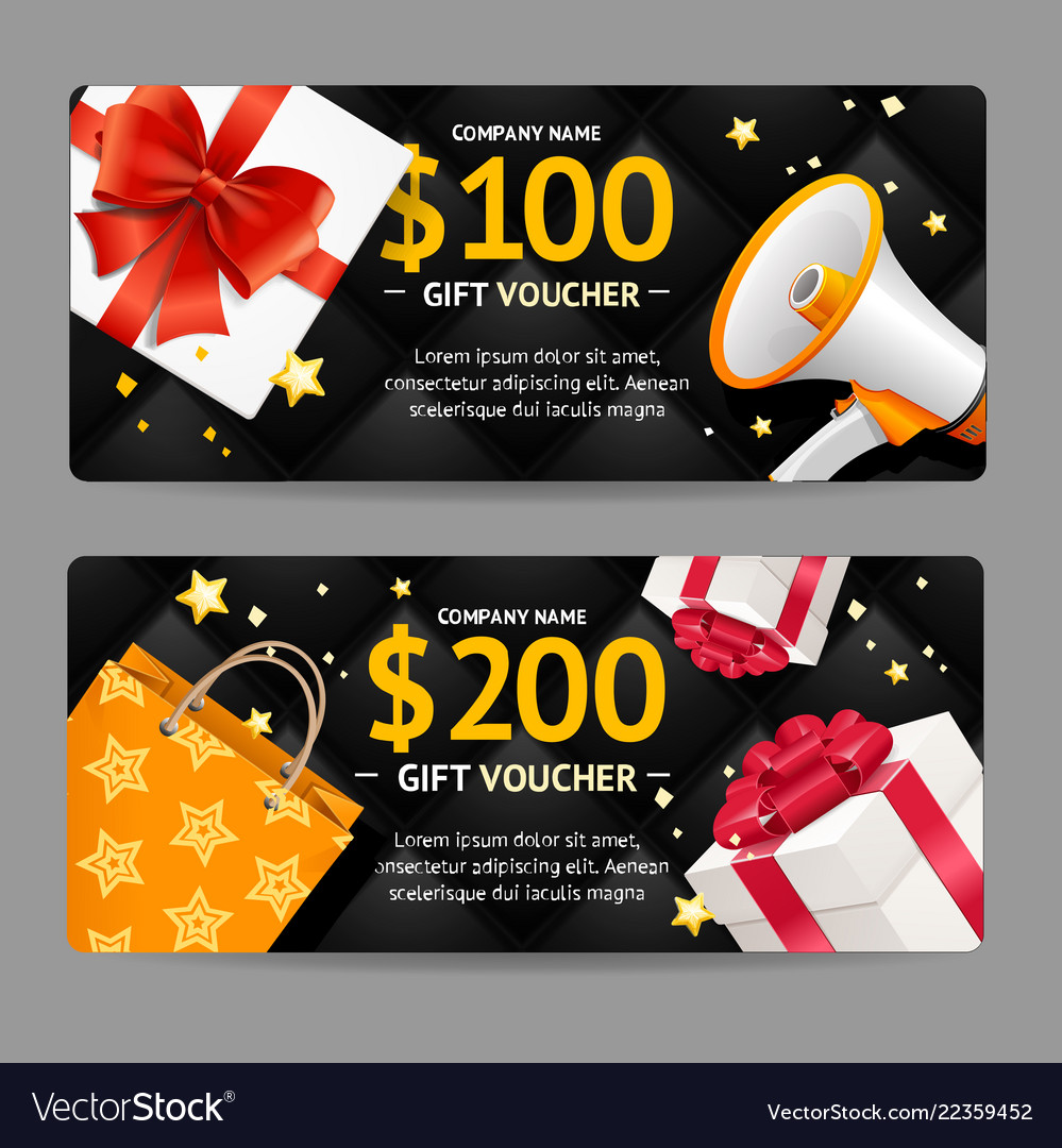 Gift banner horizontal set black friday concept vector