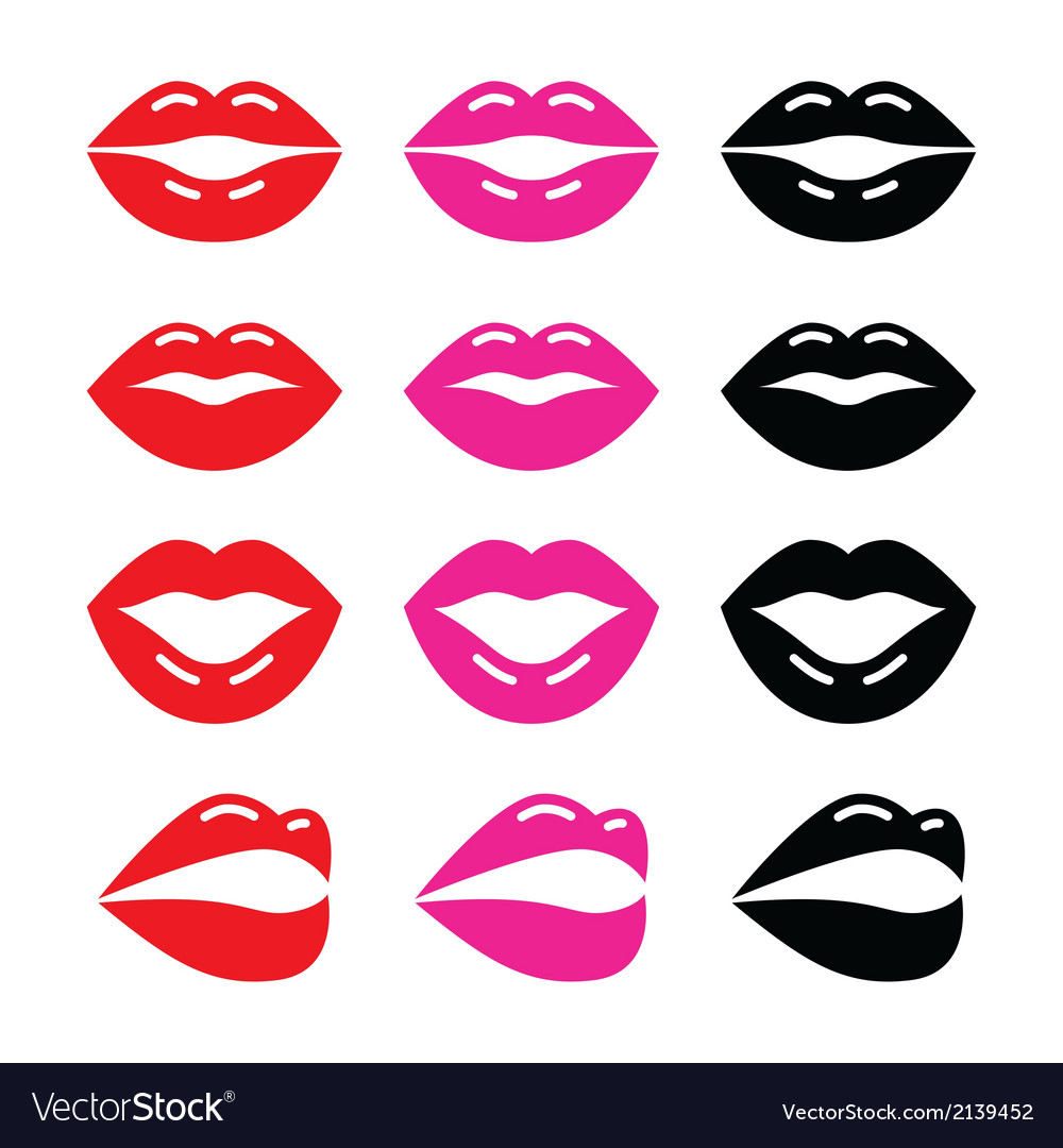 Lips kiss red pink and black glossy icon