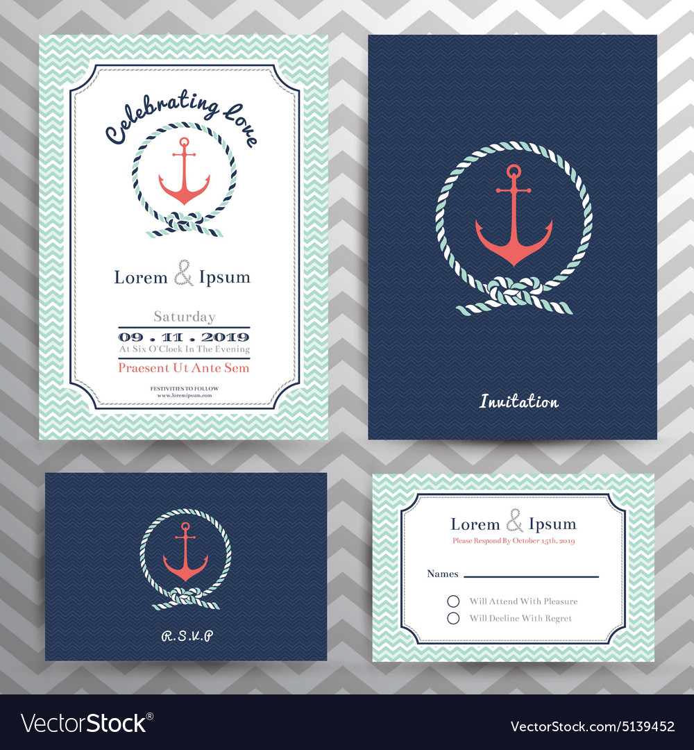 Nautical Wedding Invitations.Nautical Wedding Invitation And Rsvp Card Template