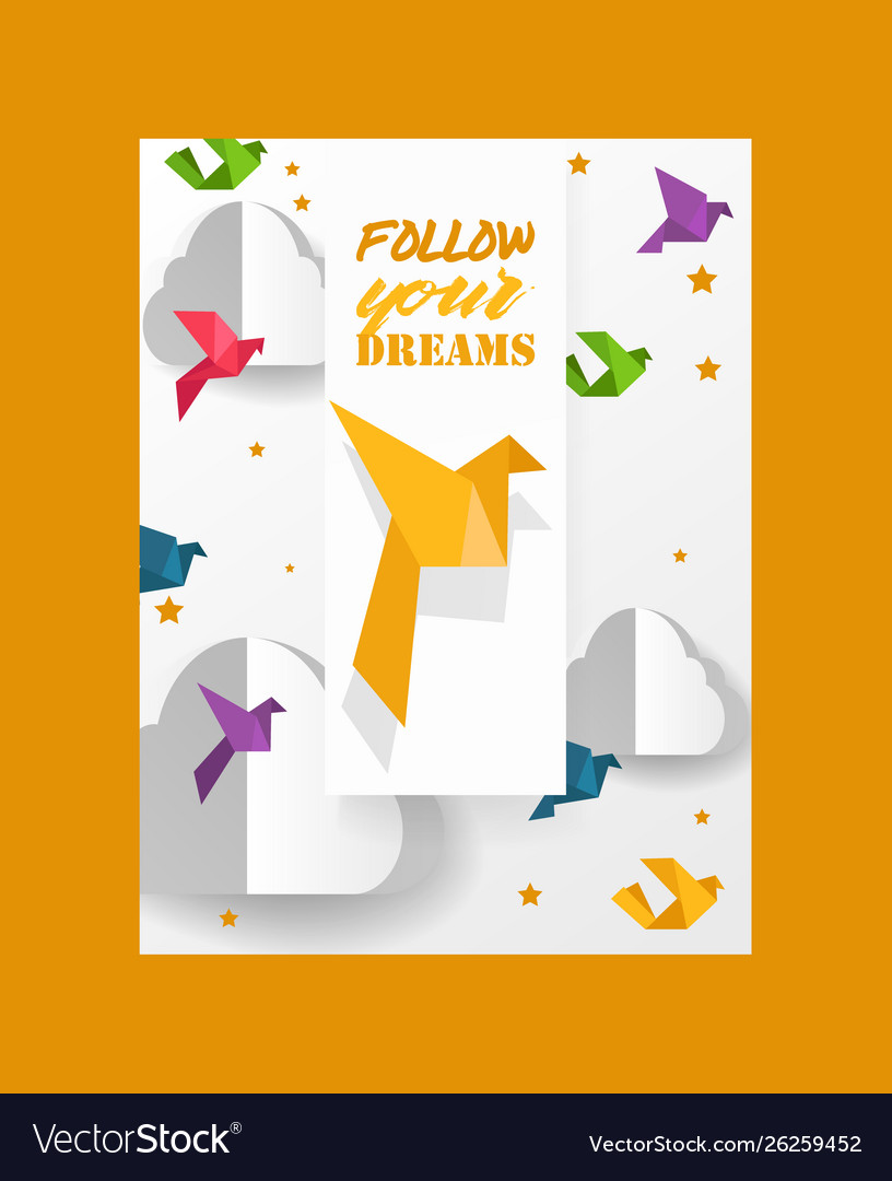 Origami cut dove paper birds and clouds