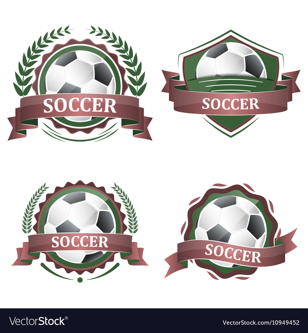 Set of soccer sport icons with ribbons laurel