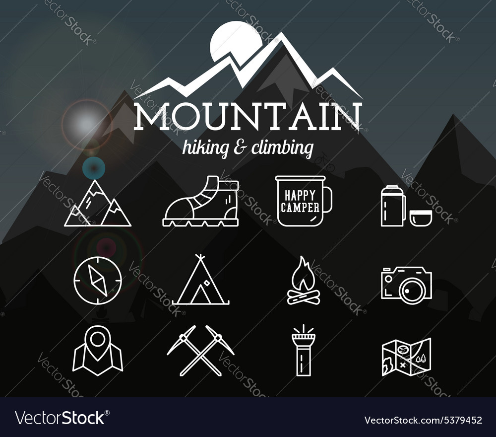 Summer mountain camp badge logo template and