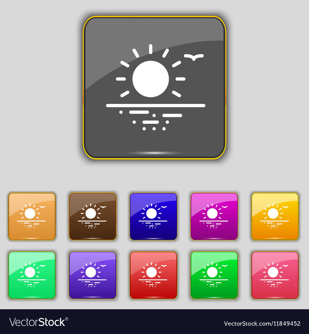 Sunset icon sign Set with eleven colored buttons