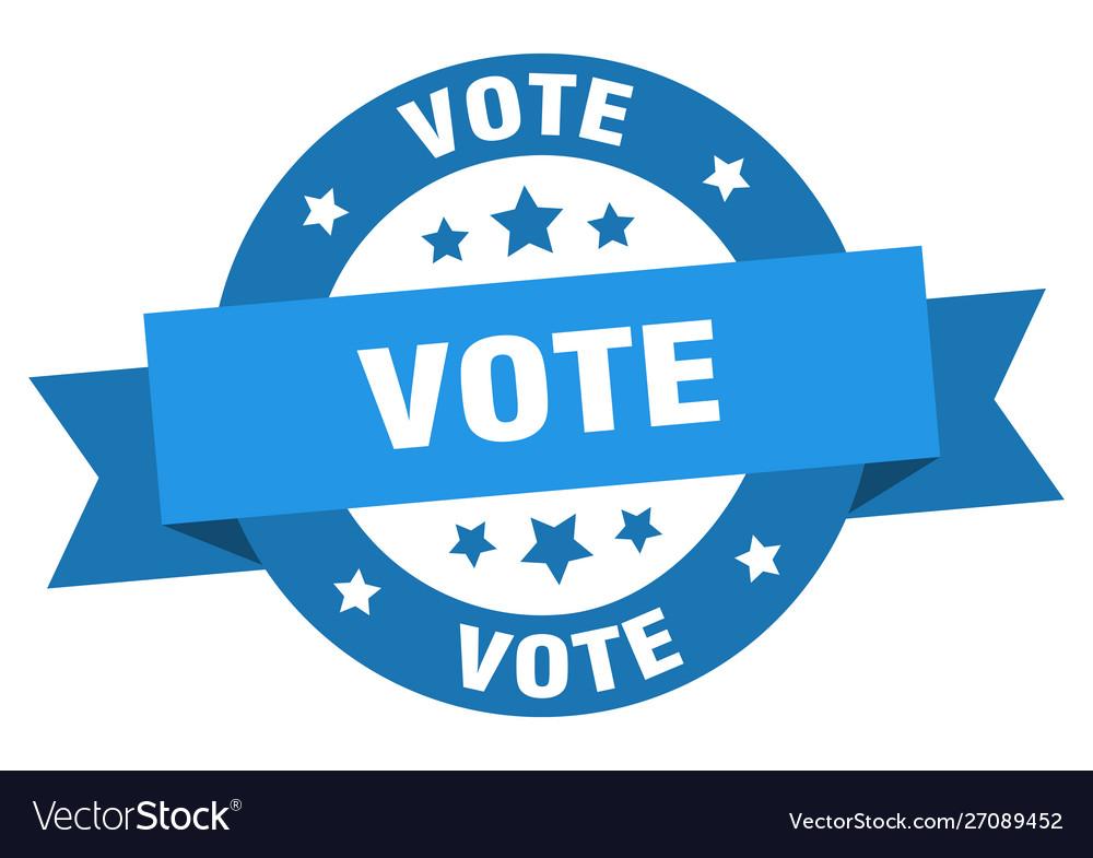 Vote ribbon vote round blue sign vote