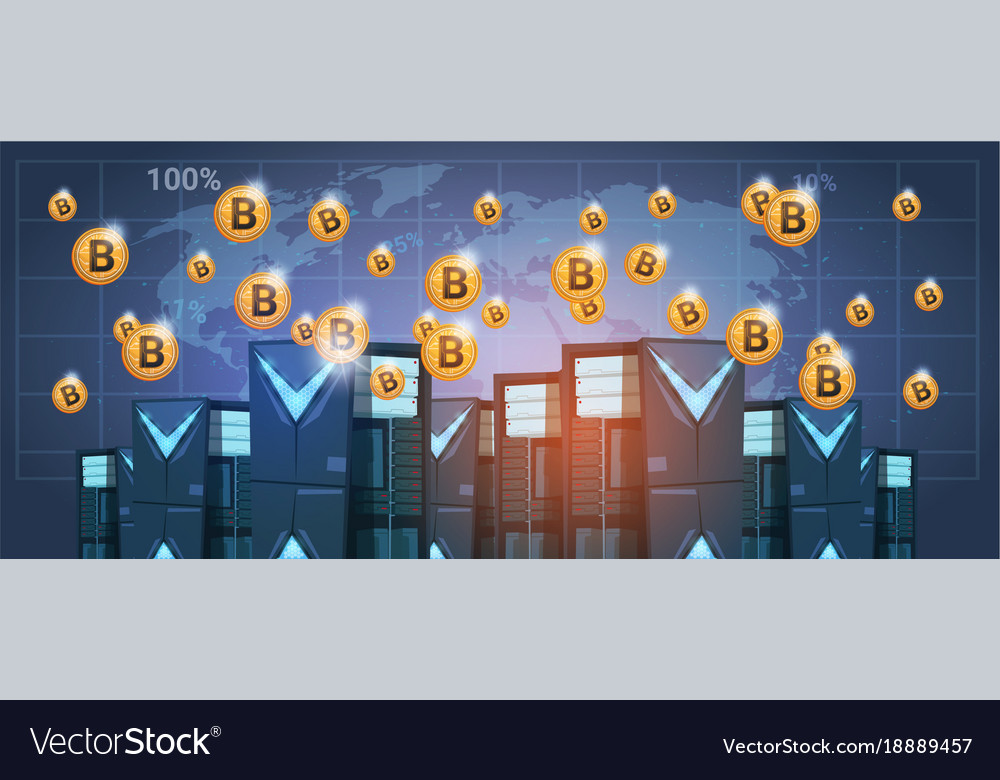 Bitcoin mining farm data center over world map vector image gumiabroncs Image collections