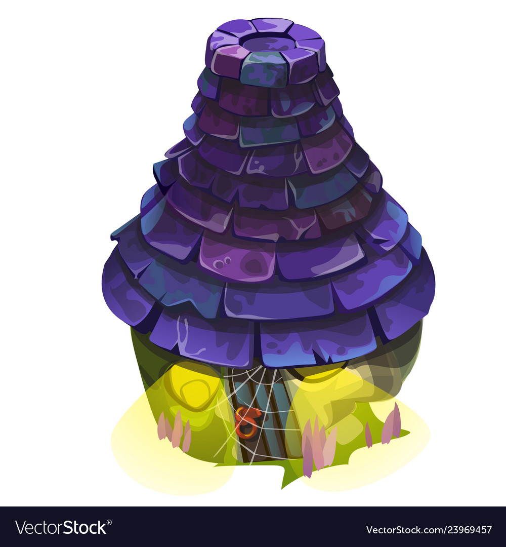 Fairy house with a blue shingle roof with glowing