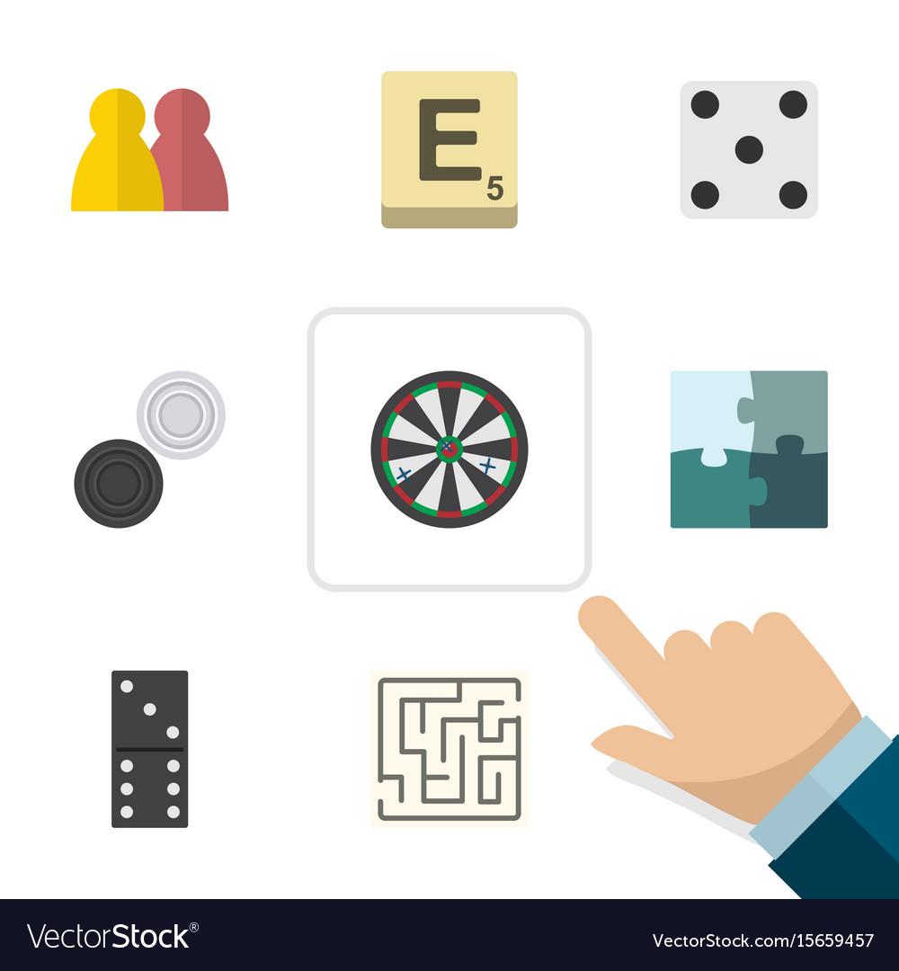 Flat icon games set of mahjong backgammon bones