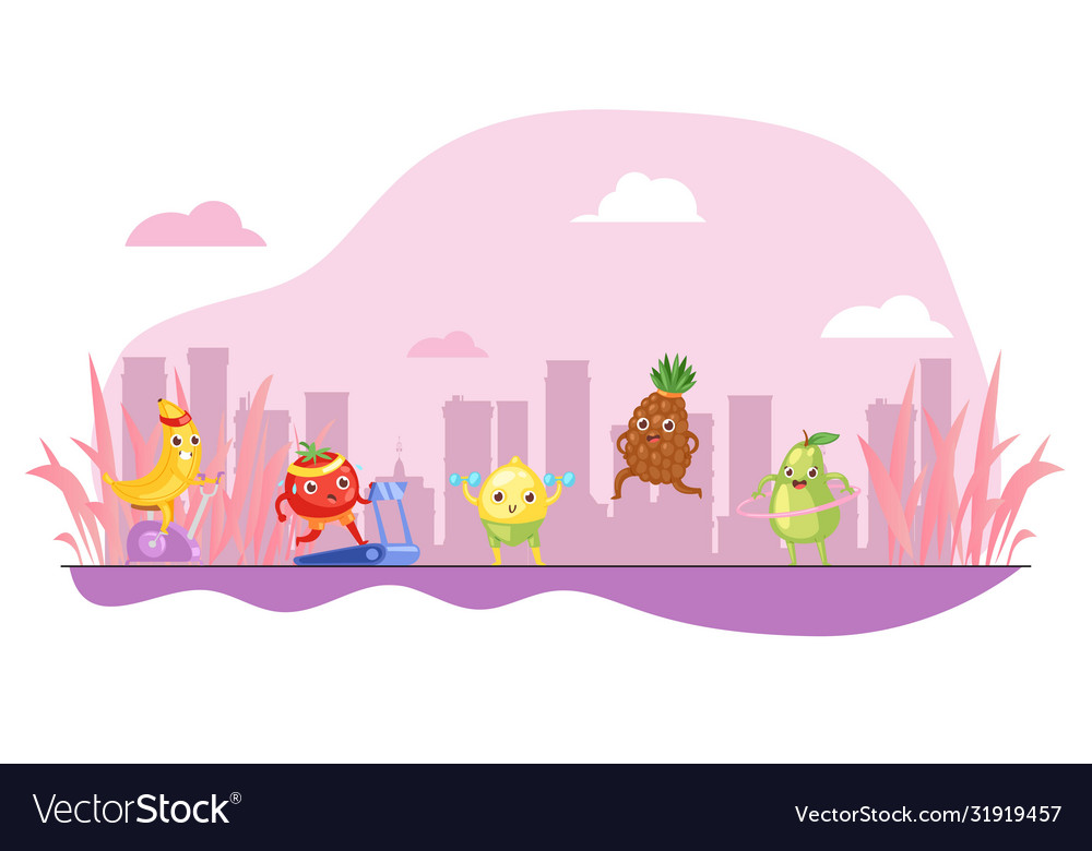 Funny fruits do sport colorful pink background