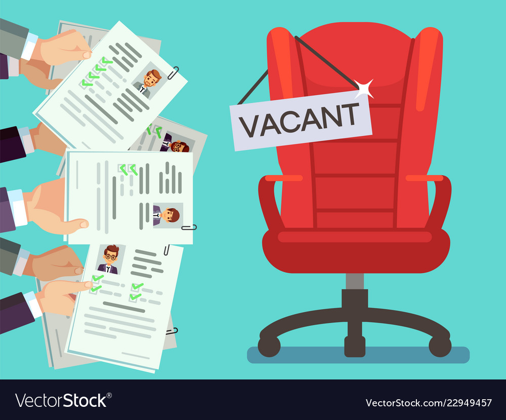 hands holds cv forms and office chair with vacancy