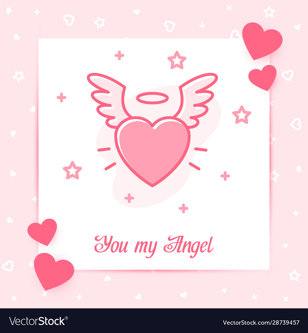 Heart wings halo valentine card angel love text