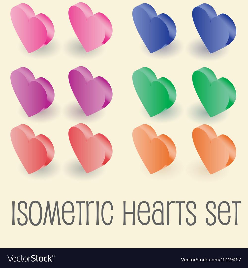 Isometric graphics of heart icons set
