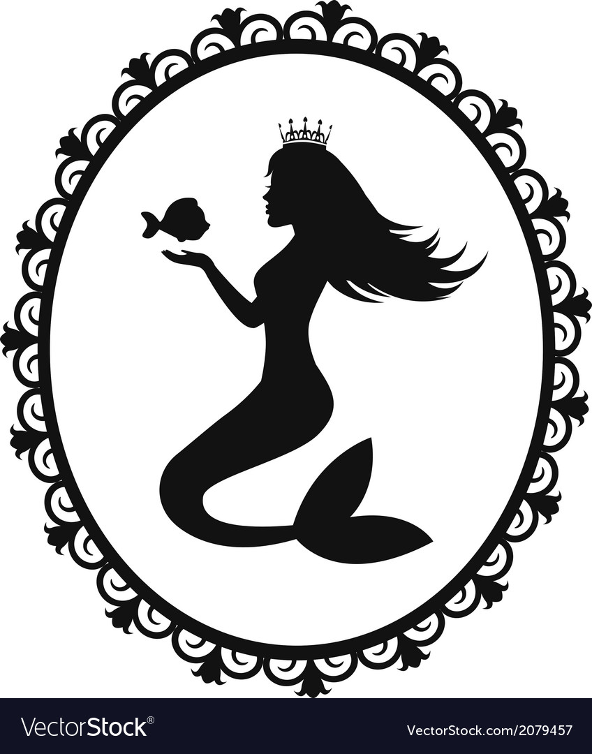 Mermaid and fish in a black frame Royalty Free Vector Image