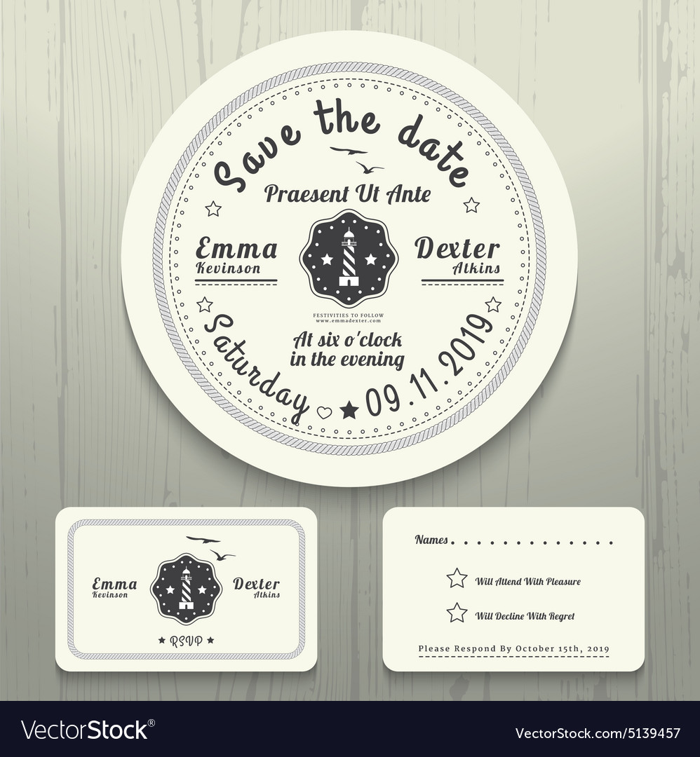 Nautical Wedding Invitations.Nautical Wedding Invitation And Rsvp Round Card