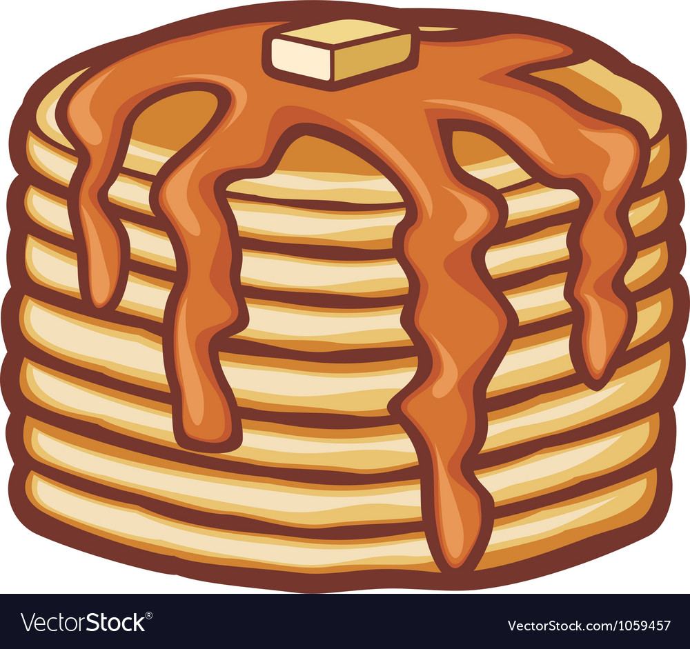 Pancakes with butter and syrup vector image