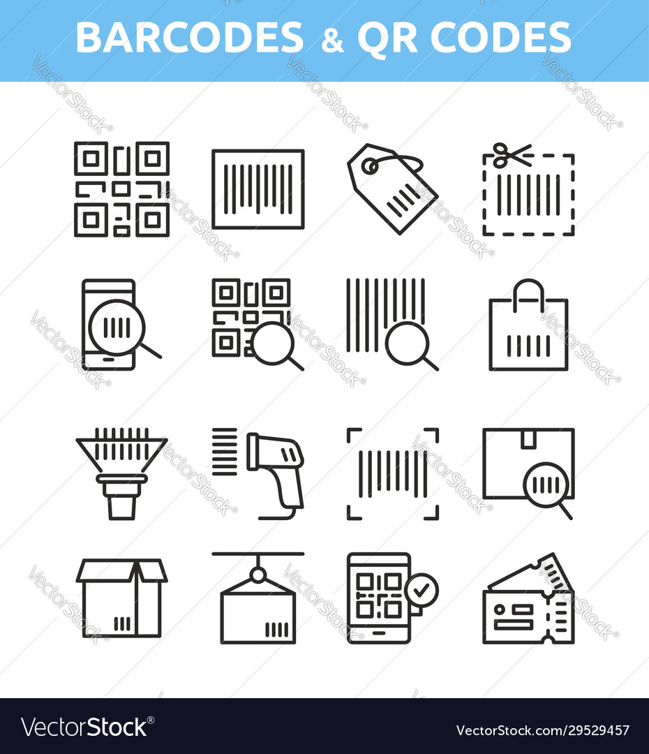 Qr code and barcode icons