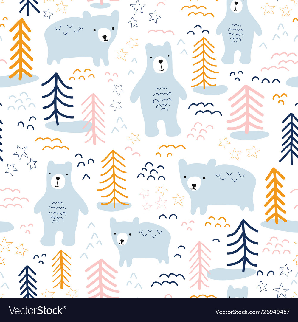 Seamless pattern bears in forest hand drawn