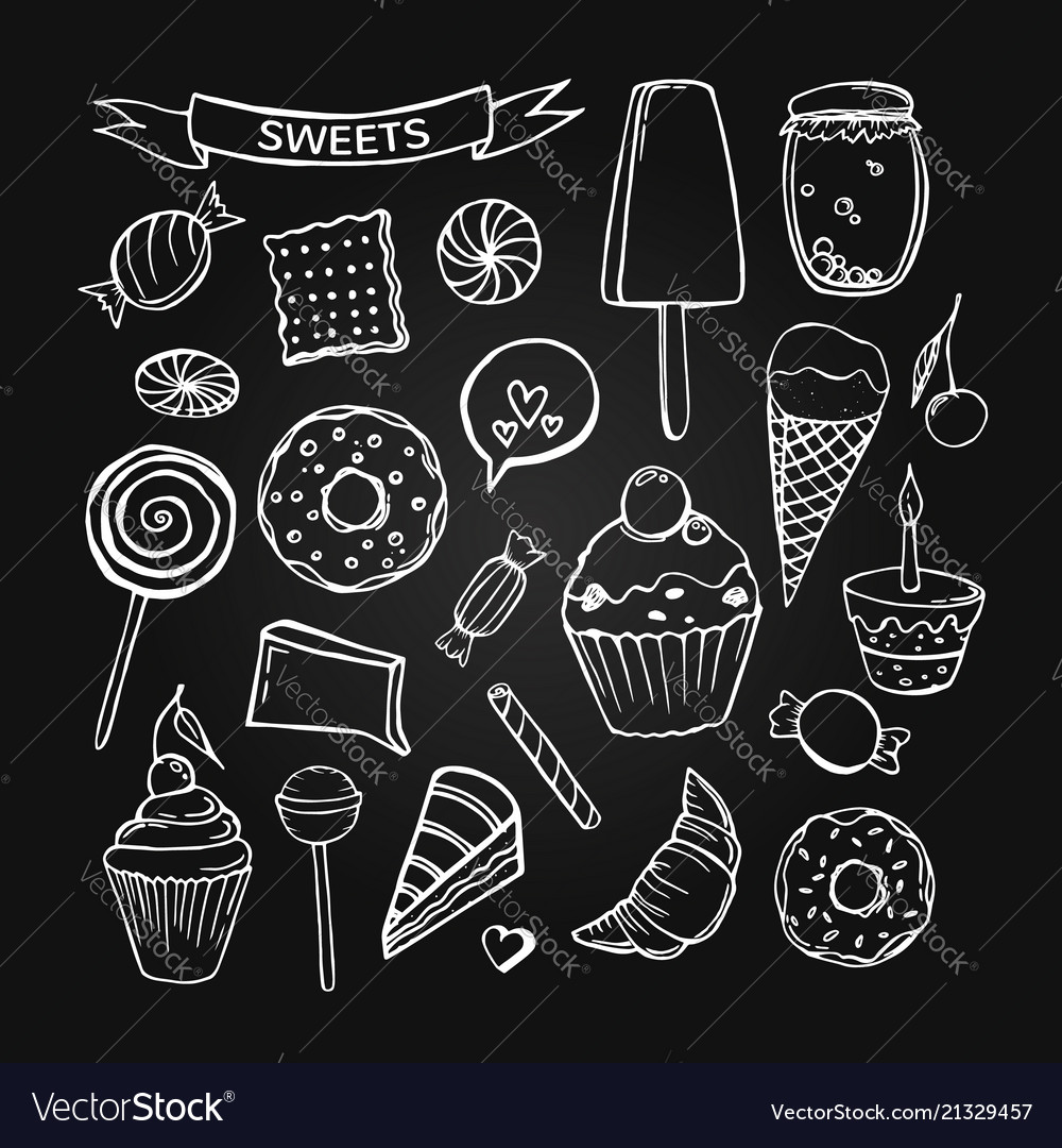 Set of hand-drawn sweet pastries and cupcakes