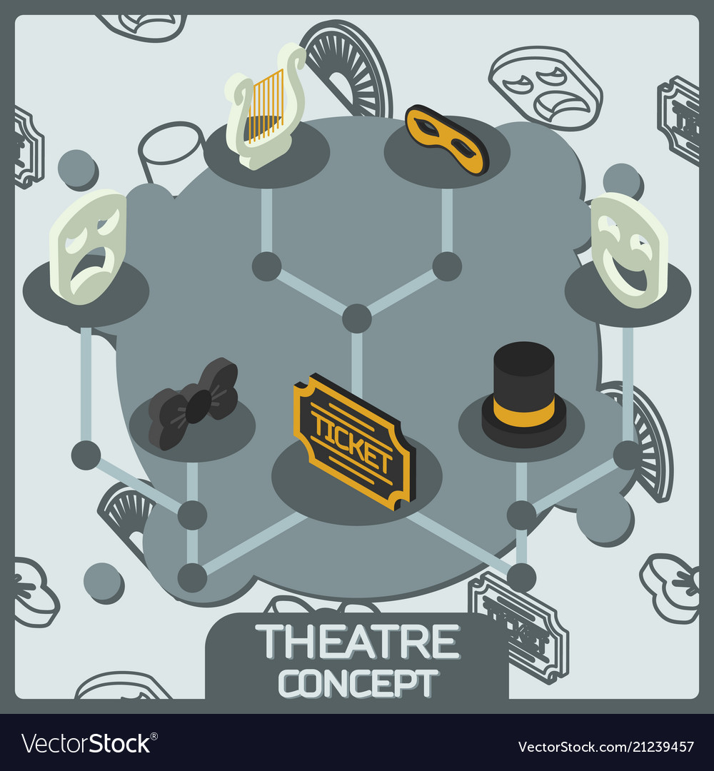 Theatre color concept isometric icons