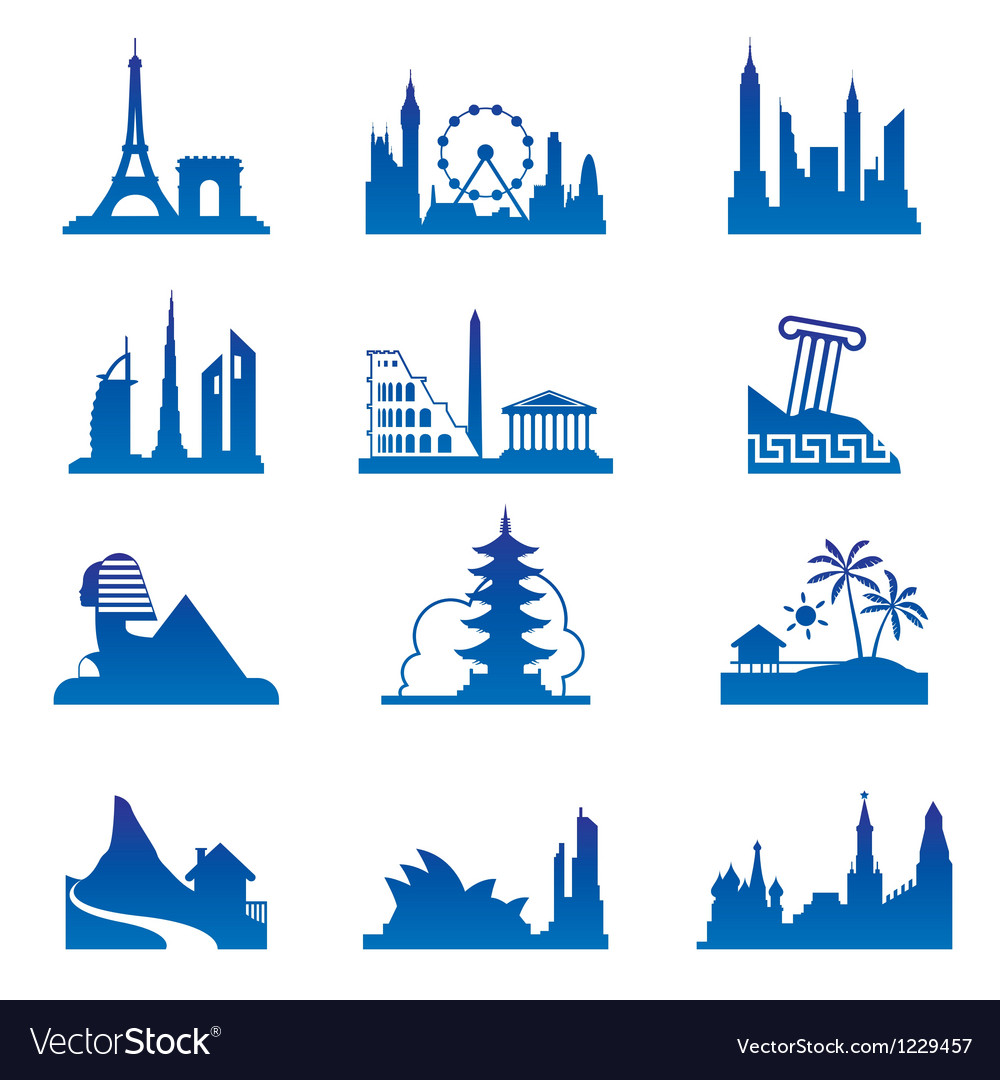 World travel destinations vector image