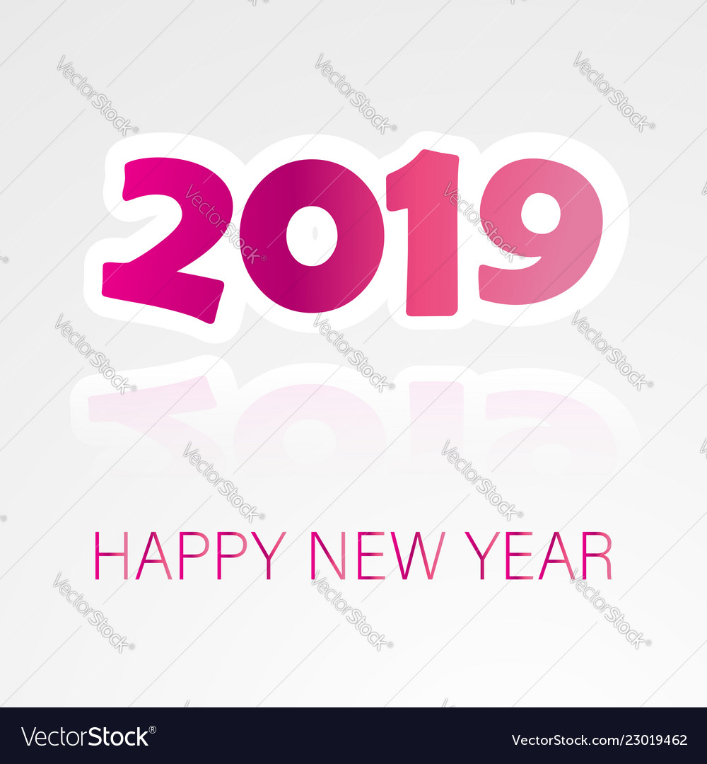 2019 happy new year background with colorful text