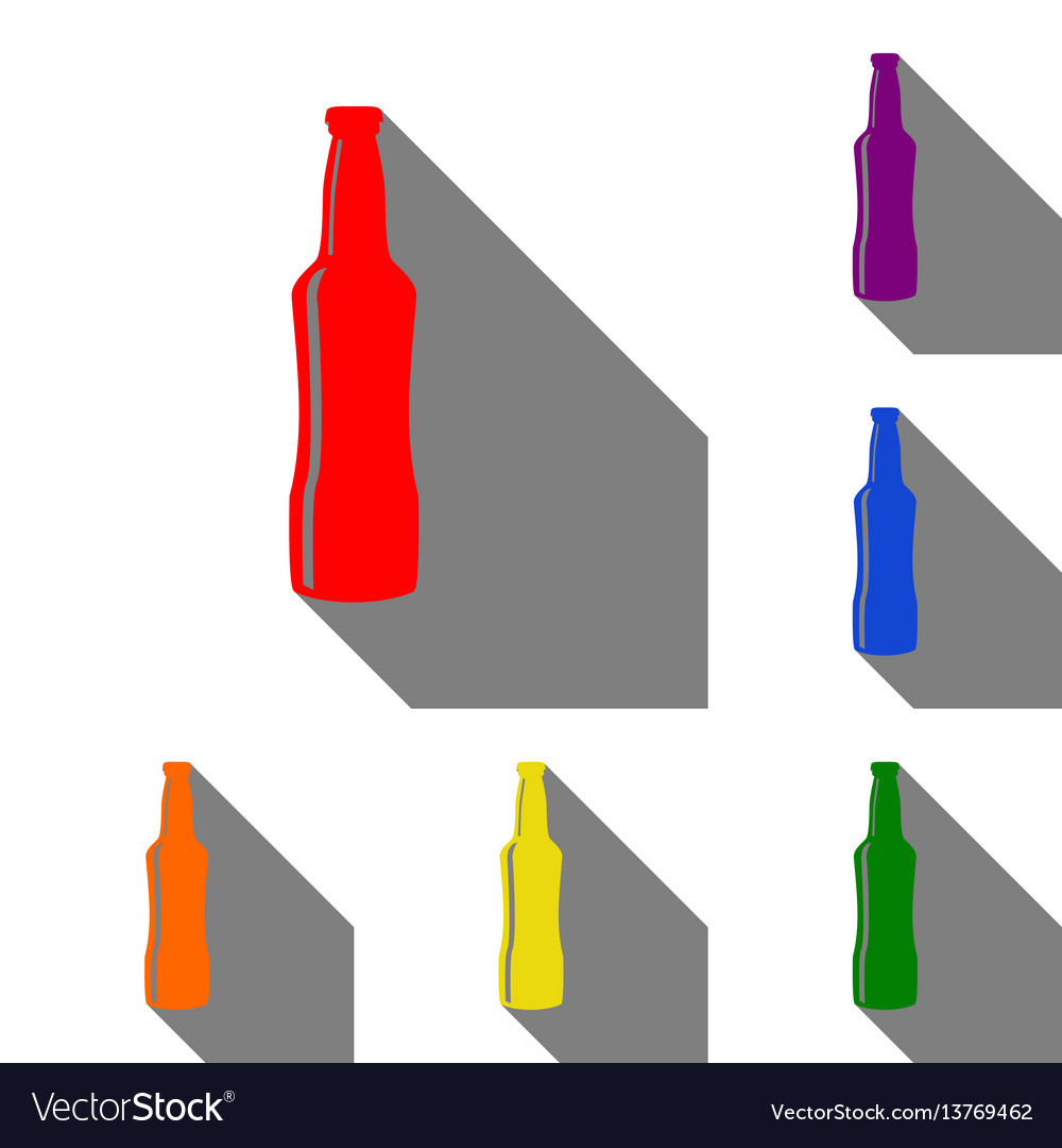 Beer bottle sign set of red orange yellow vector image