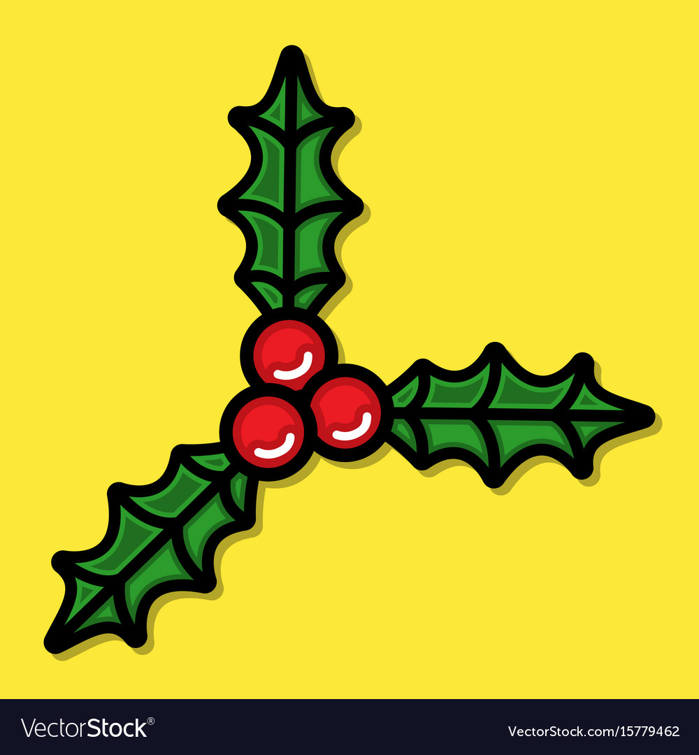 Christmas holiday mistletoe with red berries and