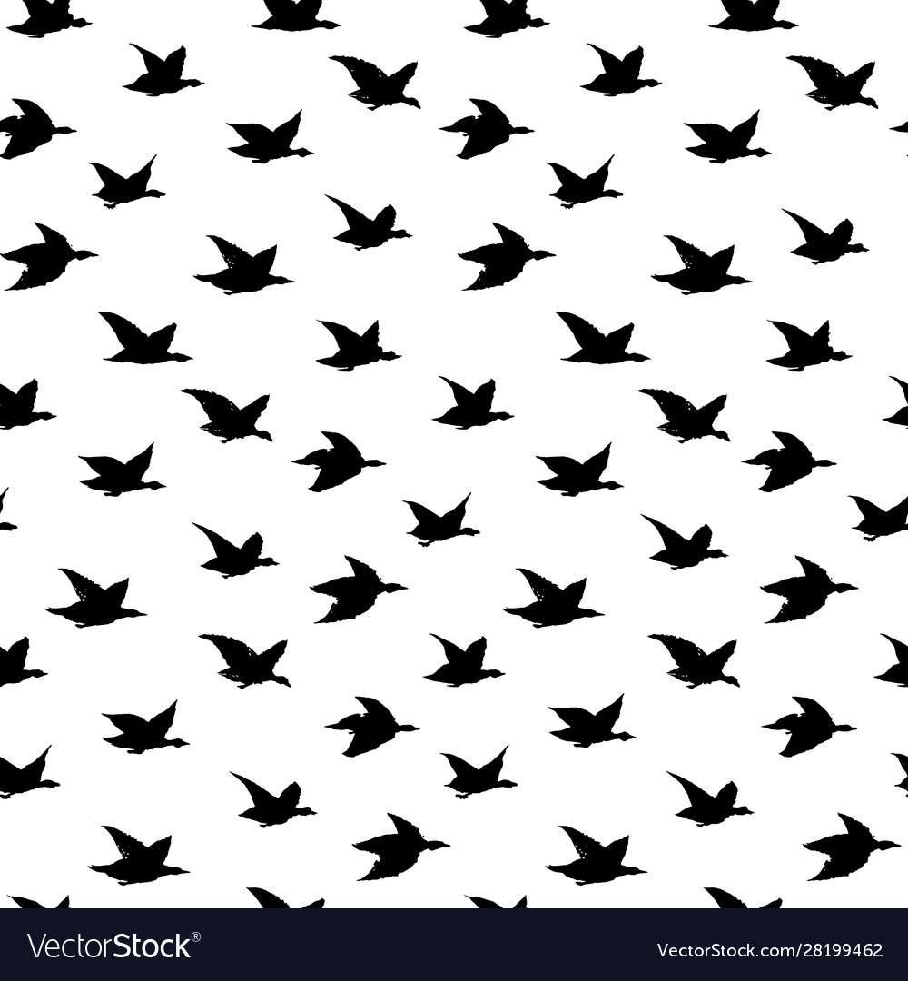 Crane birds seamless pattern with simple birds