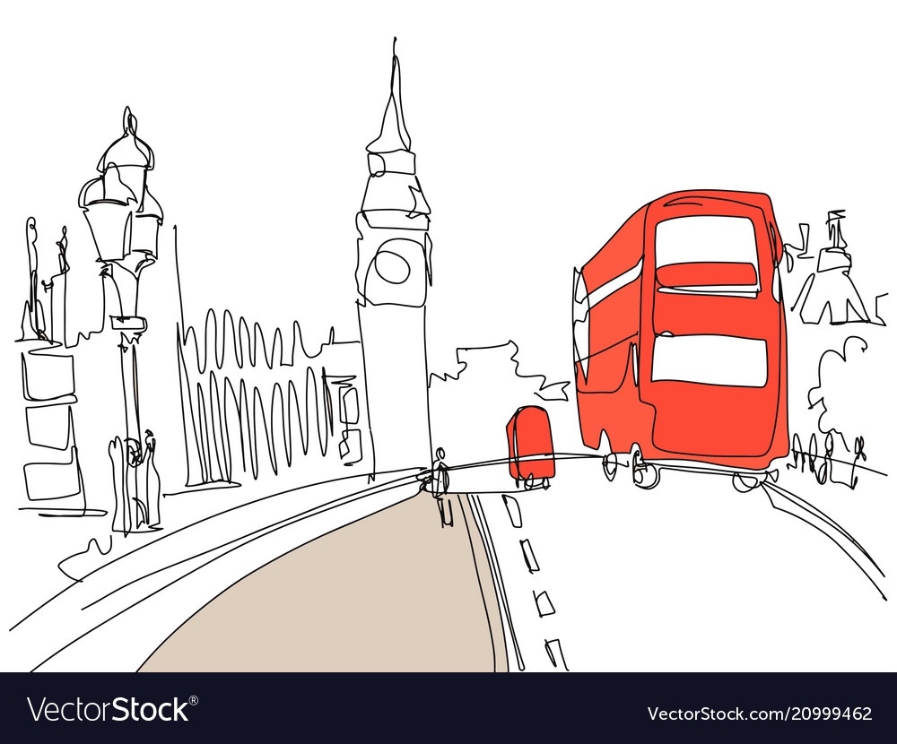 Drawing london tower street with red bus and