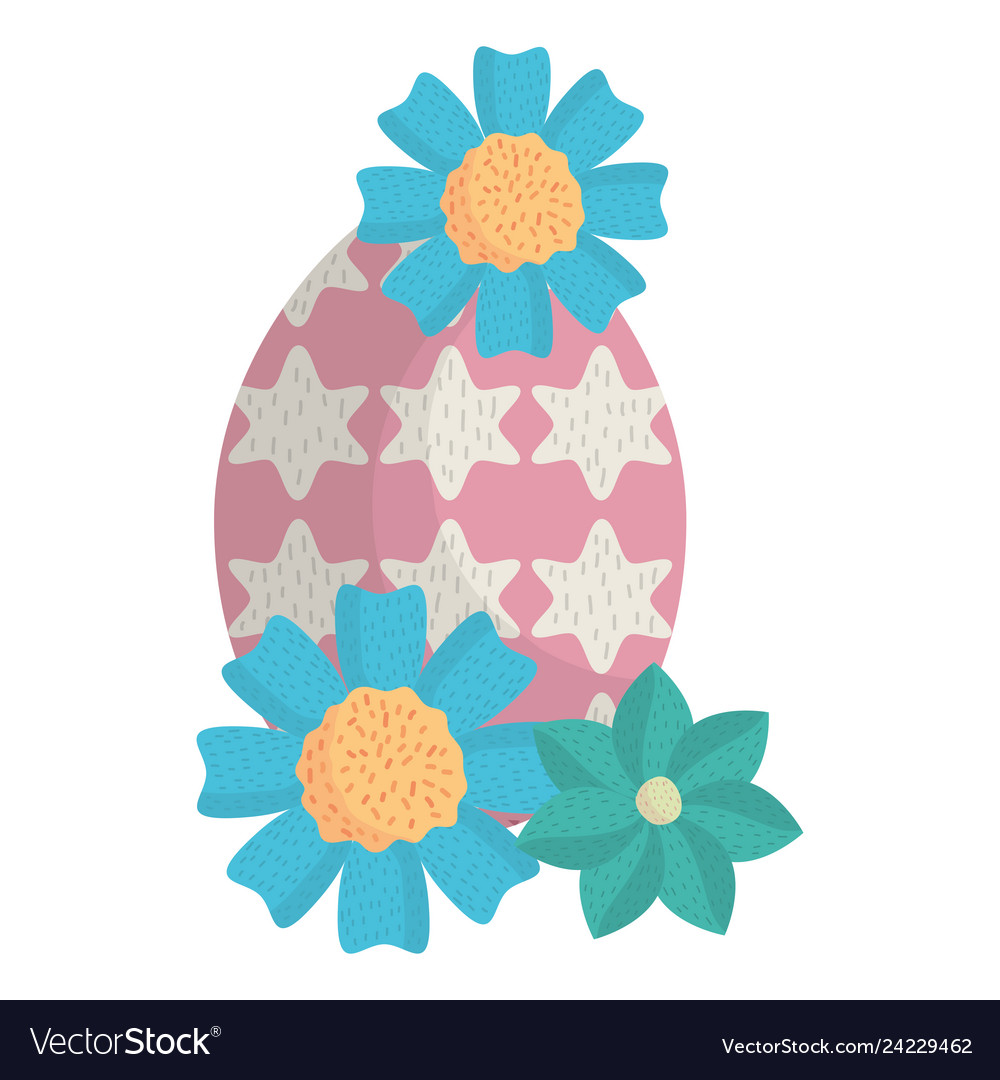 Egg painted happy easter with flowers