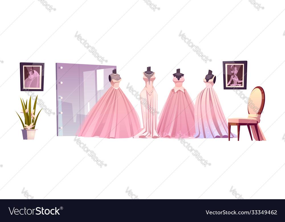 Luxury bride dresses in wedding shop