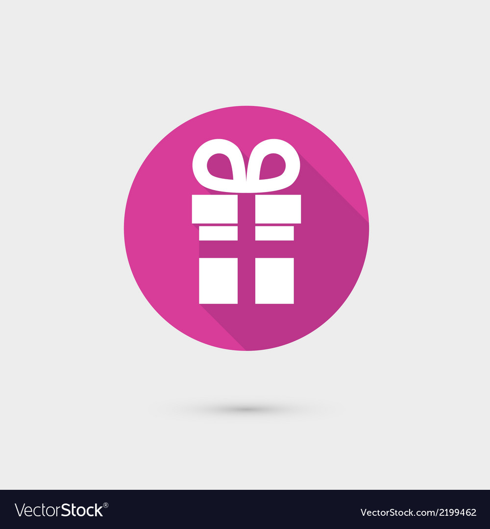 Present gift box icon flat design for web and