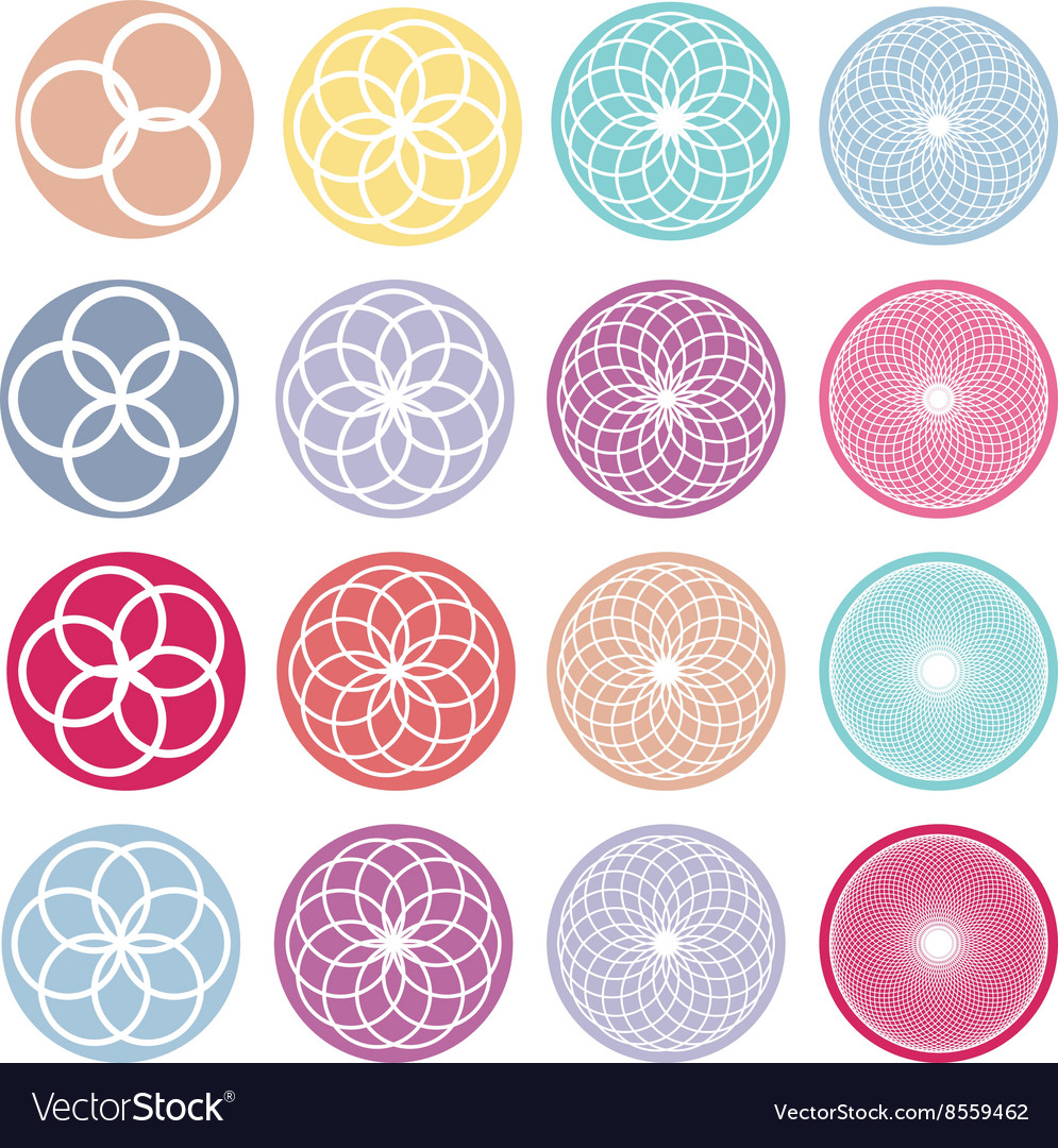 Round ornaments set abstract creative flowers