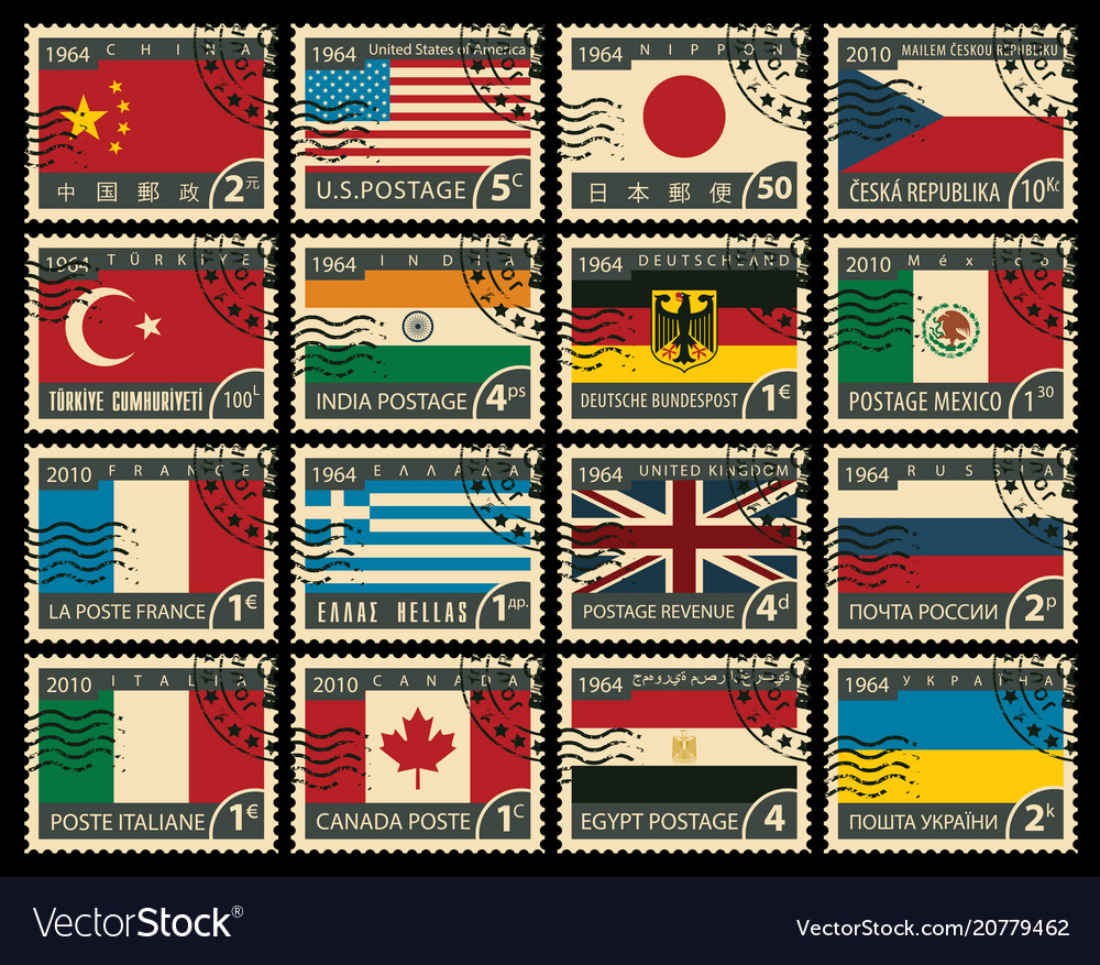 Set of stamps with flags of different countries vector image