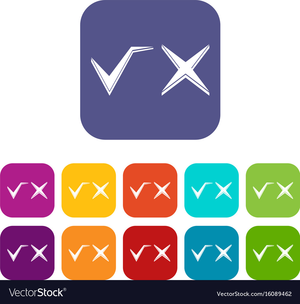 Tick And Cross Icons Set Royalty Free Vector Image