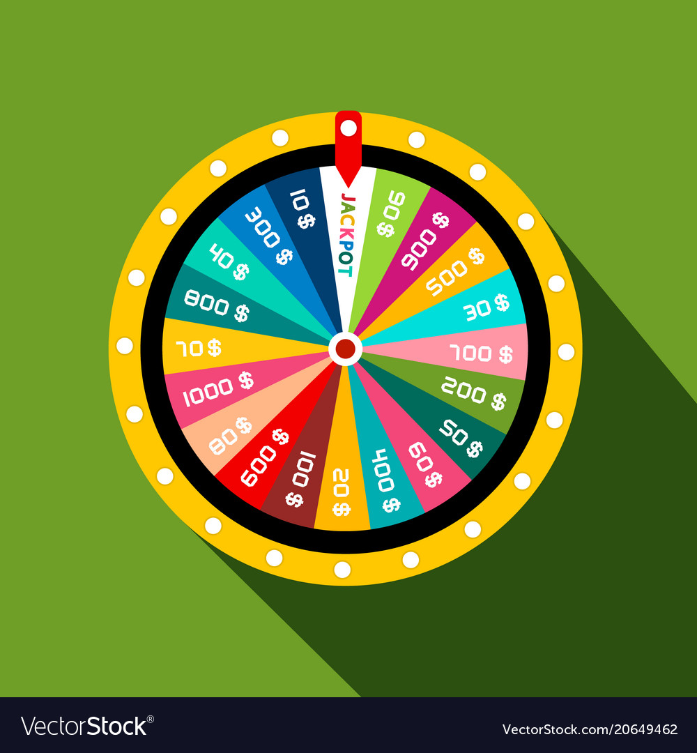 Wheel Of Fortune With Jackpot Flat Design Symbol Vector Image