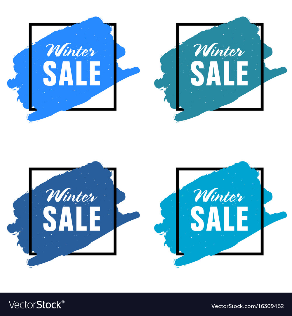 Winter sale icon in blue color set